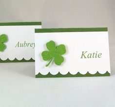 Shamrock Place Cards / Irish Wedding Escort Cards / Buffet Food Labels / Shamrock Treat Bag Toppers / St Patrick's Day Party Seating Cards by AcarrdianCards on Etsy https://www.etsy.com/listing/124164786/shamrock-place-cards-irish-wedding