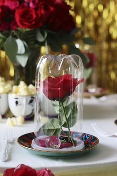You can't have a Beauty & the Beast party without the Magic Rose. I played with a few ways on how to incorporate this element into the party & the Rose Bell Jar Takeaway gift was by far the best opti