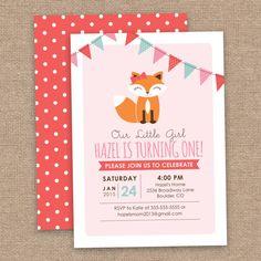 Woodland Fox 1st Girl Birthday Invitation, Pink Coral & Aqua, DIY Printable
