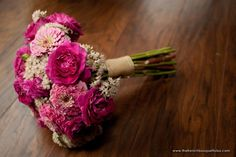 Bright Pink Zinnia and Sedum Bouquet - Petite Fleur by The French Bouquet - Artworks Tulsa Photography