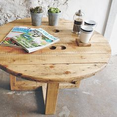 cable drum coffee table by revive joinery | notonthehighstreet.com
