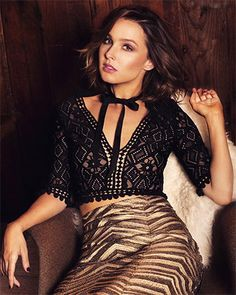 Camilla Luddington for Bello Magazine, October 2015, wearing a For Love & Lemons Florence Crop Top http://www.jdoqocy.com/click-3800583-10451141-1429283308000?url=https%3A%2F%2Fwww.shopbop.com%2Fflorence-crop-top-love-lemons%2Fvp%2Fv%3D1%2F1575301619.htm%3FcurrencyCode%3DUSD&cjsku=FLOVE3032712867 and a Korovilas skirt. #style #celebstyle