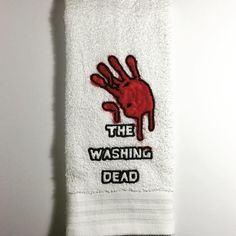 Original design embroidered hand towel! These are perfect for your kitchen or bathroom to send a message to your house guests or family! 100% cotton terry clo