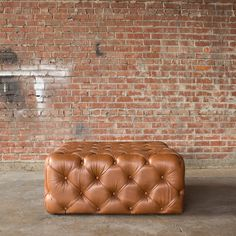Leather Tufted Ottoman by CroftHouseLA on Etsy