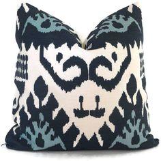 Family Room Sofa Pillows....Blue Kazak Quadrille Pillow Cover Square Eurosham or by PopOColor