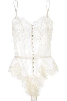 Rosamosario Buongiorno Dolcezza Silk-Georgette and Chantilly Lace Bodysuit