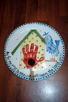 birdhouse plate using hand and foot - so adorable!
