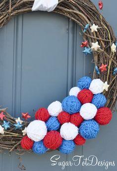 4th of July Yarn Wreath by @telisa