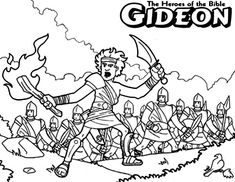 Gideon The Bible Heroes Coloring Page - NetArt Bible Coloring Pages, Free Printable Coloring Pages, Printable Art, Coloring Books, Bible Crafts, Bible Art, Gideon Bible, Bible Heroes, Sunday School Coloring Pages