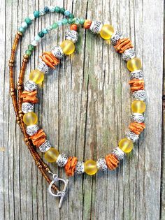 Boho chic beaded leather necklace sea glass by NanabojoDesigns, $40.00