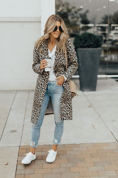 Leopard Coat & Sneakers | Cella Jane