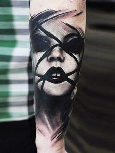 Realistic Face Tattoo by U Gene | Tattoo No. 12431