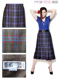 plaid Skirt vintage high waisted women clothing midi pleated skirt 80s clothing pleated skirt blue boho chic  Retro bohemian XXXL LARGE by SixVintageChicks on Etsy