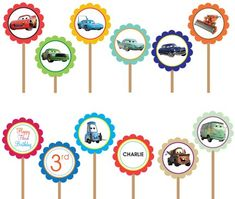 Disney Cars Lightning McQueen Matter- Printable DIY Custom Party Circle Cupcake Toppers by DesignDreamEtsy, via Flickr