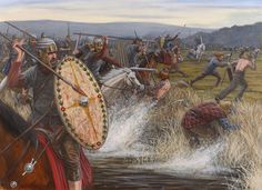The Roman cavalry mop up the remnants of the routed Caledonians, Mons Craupius