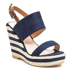 French Blu Navy Sailor Wedge ($35) ❤ liked on Polyvore featuring shoes, plus size, navy espadrilles, navy blue shoes, wedge heel shoes, beach footwear and beach shoes