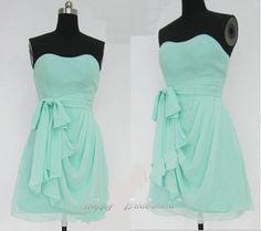 88.00$  Buy here - http://vikrd.justgood.pw/vig/item.php?t=go45ak49585 - Mint Knee Length Short Sweetheart Simple Chiffon Bridesmaid Dress Prom Dress