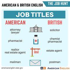 Vocabulary: The Job Hunt - American vs British - Job Titles
