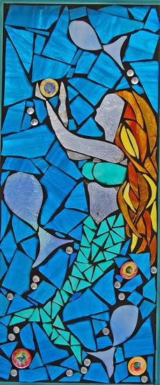 Mermaid Mosaic Stained Glass Window | Grey Dog Studio