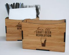 Restaurant Table Caddy Wooden Cutlery and Napkin Holder.