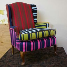 Fab.com | Wingback Chair Stripe