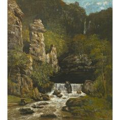 Landscape with a Waterfall, 1865 by Gustave Courbet Art Print Magnolia Box Size: Extra Large Framed Art Prints, Painting Prints, Fine Art Prints, Paintings, Oil On Canvas, Canvas Art, Canvas Prints, Gustave Courbet, Watercolor On Wood