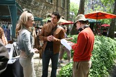 "Evan Rachel Wood, Henry Cavill and Woody Allen on the set of ""Whatever Works""."