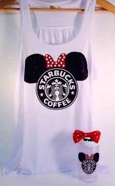 Minnie Starbucks Glitter Top. Baby - Adult Tanks Disney Trip Disneyland Monogram Cruise or Disney Bridal Shower! by TheGlitterSquad on Etsy https://www.etsy.com/listing/225133139/minnie-starbucks-glitter-top-baby-adult