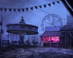 Ghost Carnival by on DeviantArt Creepy Circus, Creepy Carnival, Dark Circus, Circus Art, Circus Aesthetic, Haunted Carnival, Carnival Background, Night Circus, Vintage Circus