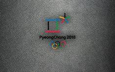 Download wallpapers PyeongChang 2018, 4k, logo, emblem, leather texture, 2018 Winter Olympics, South Korea