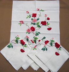 "A set of 6 napkins from Wilendur is in the ""Duchess Rose"" pattern. Napkins measure about 17 1/2 x 17 inches.  Love this pattern."