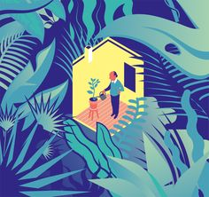 Livre de la journaliste et essayiste Mona Chollet, Chez soi, une odyssée de l'espace domestique - Illustration Lou Rihn pour Télérama