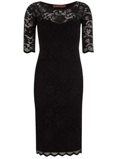 Jolie Moi Black 3/4 Sleeve Lace Dress