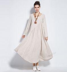 Anysize linen&cotton maxi dress with sides seam pockets plus