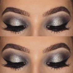 Grey and Silver Eye Makeup Idea