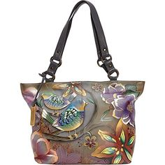 Women's Shoulder Bags - Anuschka Handpainted Leather 524BLB Classic Large Tote Blissful Birds One Size >>> Read more at the image link.