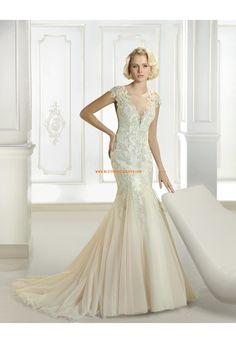 Cosmobella Meerjungfrau Elegante Moderne Brautkleider aus Organza mit Applikation