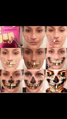 Golden skull makeup pictorial