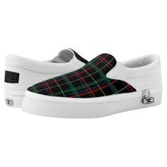 Dark Navy/Red/Green Plaid Slip On Sneakers - red gifts color style cyo diy personalize unique