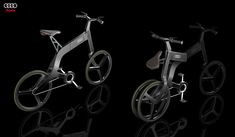 FOLDING BIKE | AUDI. Urban oriented: lightweight and compact, easily fitted in a standard car trunk. It can be connected with a global city network using a smart phone or GPS mobile device system, offering a live city map, free parking zones and urban traffic map.
