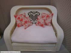 1:6th Scale Miniature Coral and Mint Pillow by MiniaturesfromAvalon
