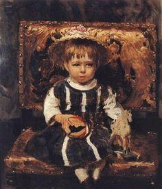 Репин Илья Ефимович (Россия, 1844-1930) «Портрет В. И. Репиной, дочери художника в детстве» 1874