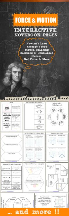 Force and Motion Interactive Notebook Pages - Take your student INB's to the next level with these templates for force and motion.  Topics include: Newton's Laws, Average Speed, Motion Graphing, Weight, Mass, Balanced and Unbalanced Forces, Net Force, and Work.  Save tons of time in your classroom and print these out today.