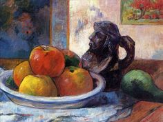 Время собирать плоды: Яблочный Спас в работах художников - Ярмарка Мастеров - ручная работа, handmade Поль Гоген. Натюрморт с яблоками, грушей и кувшином.