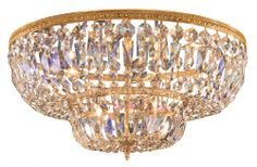Crystorama - Eight Light Olde Brass Hand Polished Glass Bowl Flush Mount : Bright Light Design Center