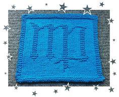 Virgo Knit Dishcloth, Zodiac Symbols, Virgo, Squares, Knitting Patterns, Blanket, Crochet, How To Make, Knit Patterns