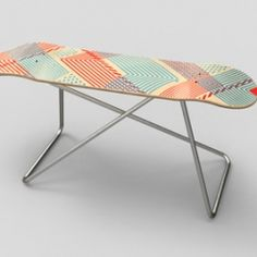 Skate deck console table. Would look awesome in an apartment entryway.