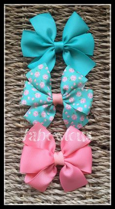 Set of 3 3 inch Pinwheel Hair Bows Baby Headband by LizFabBows