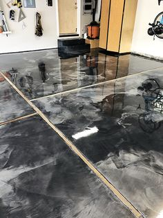 Two color grey metallic epoxy with a high solids urethane topcoat. Concrete Sealant, Epoxy, Jesus Artwork, Garage Floor Coatings, Start Of Winter, Topcoat, Restoration, Gray Color, Metallic