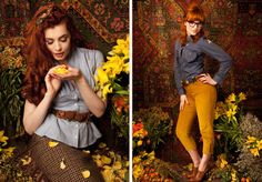 love the gold crops by Lena Hoschek. #autumn #yellow #pants